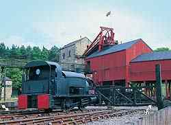 photograph: Pithead with a locomotive engine.